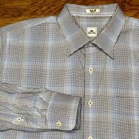 Peter Millar Mens Blue Brown Plaid Check Long Sleeve Dress Shirt Size XL