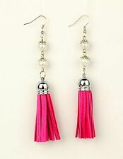 Faux Suede Tassel Dangle Earrings with Glass Pearl Beads - Deep Pink - # B295