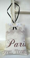 Shabby Chic Organic Lavender Pillow Sachet Vintage Button Lace Paris Eiffel Towe