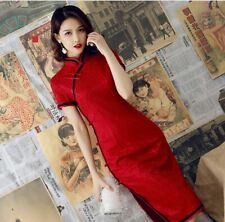 New Luxurious China Red Chinese Short Lace Dress Cheongsam Qipao lcdress84