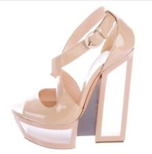 Casadei Patent Leather Beige Platform Sandals Size 38.5