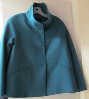 Talbots Petites Jackie Fit Wool Blend Dual Collar Jacket Coat Green 2 P NWT