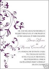 Wedding Invitations Custom and Unique Purple Vine