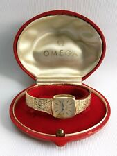 Vtg 1972 Ladies Omega 9ct Gold Bracelet Square Face Wrist Watch Box 620 Cal 32g