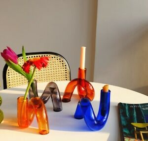 Twist Glass Candle Holders Retro Candlestick Stand Modern Design Home Décor