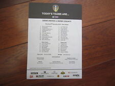 2014-15  CHAMPIONSHIP   LEEDS UNITED  v DERBY COUNTY  OFFICIAL    TEAM SHEET