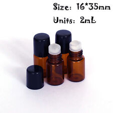12 pcs 2ml(16*35mm) Roll On Glass Amber Bottle Essential Oil Glass Roller Ball