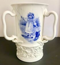 Unusual Rare Royal Doulton Blue Children Tyg or Three Handled vase with 3 scenes