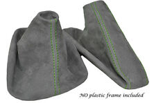 GREEN STITCH MID GREY SUEDE MANUAL GAITER SET FITS BMW 5 SERIES E39 1996-2004