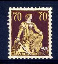 """SVIZZERA - 1908 - Allegoria dell'""""Helvetia"""" - 70 cent. bruno e giallo"""