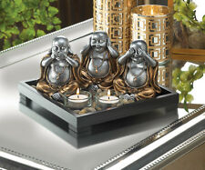 HEAR NO EVIL happy fat 3 BUDDHA Statue Candle Holder incense burner ZEN garden