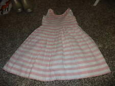 PAPO D' ANJO D'ANJO 2 YRS LINEN PINK WHITE STRIPED DRESS