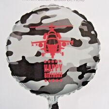 "18"" FOIL BALLOON HAPPY BIRTHDAY PARTY ARMY CAMO CAMOUFLAGE FORCES MILITARY GREY"