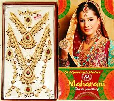 Maharani Bollywood Hochzeit Schmuck-Set 8 Teilig Rot/weißen Steinnen und Perlen