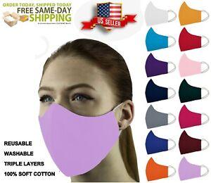 ADULT & KIDS Face Mask 3 Layers 3D 100% Cotton Washable Reusable W/Pocket Unisex