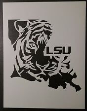 "Louisiana State Shaped LSU Tigers 8.5"" x 11"" Custom Stencil FAST FREE SHIPPING"
