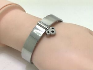 "Skultana Silver Key Lock Bangle Bracelet, 6.5""/17cm, RRP £100"