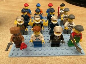 LEGO Collection Lot of 16 City Mini Figures w/ Accessories, Police, Robbers etc.
