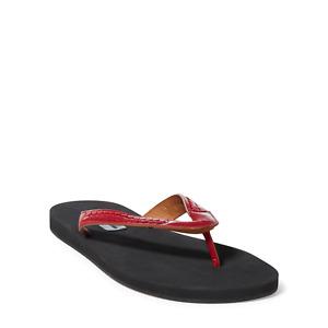 Ralph Lauren Purple Label Leroy Mens Red Vachetta Leather Weave Sandals Thongs
