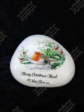 Personalised Christmas Robin Decorative Stone Grave Ornament Memorial Garden Mum