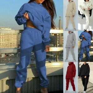 Womens Ladies Long Lounge Sleeve Plain Wear Casual Comfy Two Piece Set.Tracksuit