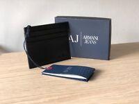 Armani Jeans Men's Calfskin Leather Pebble Card Holder Wallet, Style 06V2R Q7 12