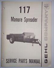Gehl 117 Manure Spreader Parts Manual Catalog Book 5/86 Original