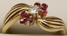 SOLID 18CT YELLOW GOLD NATURAL RUBY & DIAMOND DRESS RING - VALUED AT $1165.00
