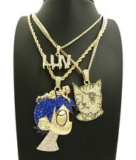 NEW ICED OUT LIL UZI VERT 3 CHAIN CHAIN SET