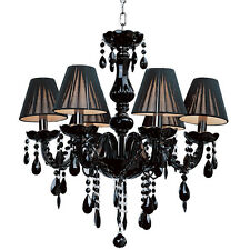 crystal chandelier black ceiling 6 light fixture lamp pendant lighting 40w x 6 ebay