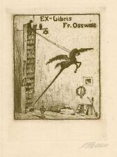 Ex libris wits owl Original ART DECO Judaica by HENNE ARTUR /1887-1963/ Germany