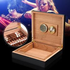 25 Count Cigar Humidor Humidifier Cedar Wooden Lined Case Box & Hygrometer 2020