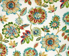 Outdoor/ Indoor ~ Upholstery ~ Retro Floral on White ~ Fabric ~ per 1/4 yard