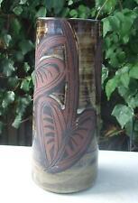Grand vase rouleau céramique signé BRIGLIN / Pottery / Design déco feuilles