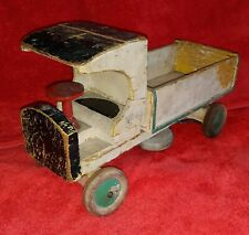 Antique Toy Truck - 1920's-1930's vintage wood C-Cab dump truck working bed.