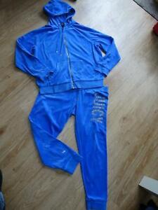JUICY COUTURE ladies blue velour 2 piece tracksuit set trouser jumper XL 16 18