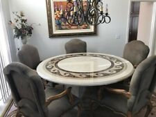 """Kreiss 66"""" Scroll marble dining table and 5 Palazzo armchairs in Novasuede"""