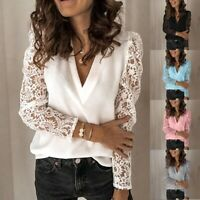 Plus Size Womens V-Neck Solid Shirts Tops Ladies Lace Long Sleeve Casual Blouse