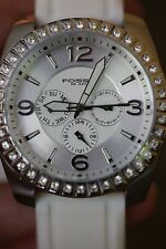 Fossil Women's Dress Fashion Crystal Silver and White Rubber Wrist Watch