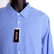 NWT Michael Kors Blue Check Tailored Fit Dress Casual Shirt Men's XL Long Sleeve