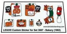 Precut Custom Replacement Stickers voor Lego Set 3667 - Bakery (1982)