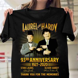 Laurel and Hardy 93rd Anniversary 1927-2020 Signature Men Black T Shirt