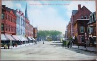 Natick, MA 1910 Postcard: Main Street / Downtown - Massachusetts Mass