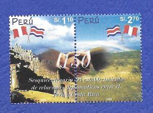 TIMBRES PÉROU 2001 ANNIVERSAIRE RELATIONS AVEC LE COSTA RICA OBLITÉRÉS