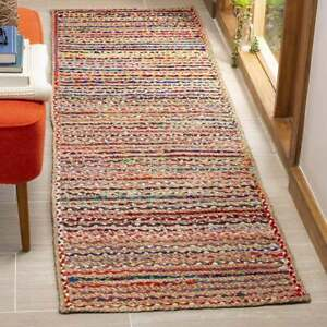 Runner rug 100% natural Jute and cotton Braided style Handmade area carpet Rug