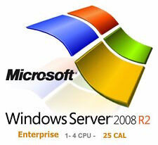 Microsoft Server 2008R2 ENTERPRISE (1- 4 CPU, 25 CAL) Licenza e DVD - NUOVO