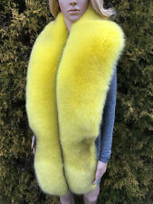 King Size 'Blue Fox' Fur Stole 78' (200cm) Saga Furs Yellow Collar