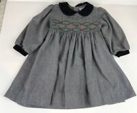 Friedknit Creations Baby Girl 24 Mo Smocked Dress Houndstooth Black White