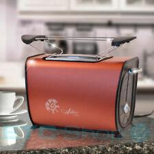 2 Scheiben Toaster Brötchenaufsatz 870 W Röster Frühstück Krümelschublade Kupfer