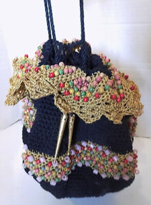 Vtg 40s Black Crochet Knit Handbag Purse Metallic Lace Wooden Beads Drawstring